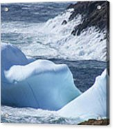 Pounding Surf With Icebergs Acrylic Print