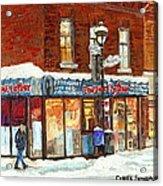 Poutine Lafleur Rue Wellington Verdun Art Montreal Paintings Cold Winter Walk City Shops Cspandau   Acrylic Print