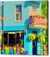 Powder Blue Corner Cafe Elses Pub Rue Roy  Montreal Sunny Summer Cafe Scene Carole Spandau Acrylic Print