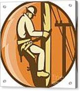 Power Lineman Electrician Climbing Utility Post Acrylic Print