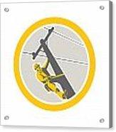 Power Lineman Repairman Climbing Pole Circle Acrylic Print by Aloysius Patrimonio