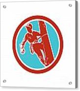 Power Lineman Repairman Electrician Climbing Retro Acrylic Print by Aloysius Patrimonio