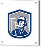 Power Lineman Repairman Shield Retro Acrylic Print by Aloysius Patrimonio