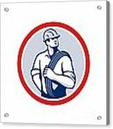 Power Lineman Wire Cable Circle Retro Acrylic Print