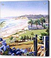 Powerhouse Beach Del Mar Blue Acrylic Print by Mary Helmreich