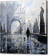 Prague Charles Bridge Morning Walk Acrylic Print