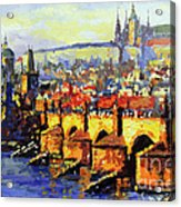 Prague Panorama Charles Bridge Acrylic Print