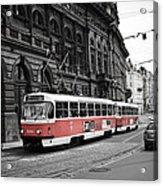 Prague Tram Vintage Acrylic Print
