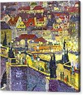 Prague Violet Panorama Night Light Charles Bridge Acrylic Print by Yuriy Shevchuk