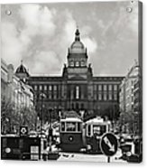 Prague Wenceslas Square And National Museum Acrylic Print by Christine Till