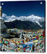 Prayer Flags In The Himalayan Mountains Acrylic Print