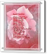 Prayer Of St. Francis And Pink Rose 2 Acrylic Print