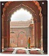 Praying At The Jama Masjid Mosque - Old Delhi Acrylic Print