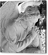 Praying Male Angel Near Infrared Black And White Acrylic Print