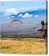 Preparing For Take Off - Paragliders Taking Off High Over Maui. Acrylic Print