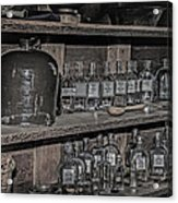 Prescription Drug Bottles Black And White Acrylic Print
