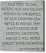 President Truman's Dedication To World War Two Vets Acrylic Print