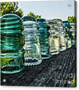 Pretty Glass Insulators All In A Row Acrylic Print by Deborah Smolinske