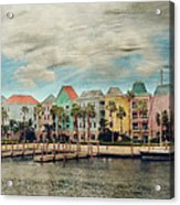Pretty Houses All In A Row Nassau Acrylic Print by Kathy Jennings