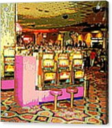 Pretty In Pink Bar Stools And Slots Reserved For Spring Break High Rollers   Acrylic Print
