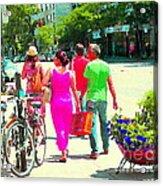 Pretty Pink Summer Dress Sunny Stroll Licari St Denis Scene Montreal Bike Racks And Flowers Cspandau Acrylic Print