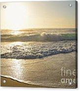 Pretty Waves At Glowing Sunrise By Kaye Menner Acrylic Print