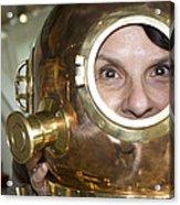 Pretty Woman In Copper Helmet Acrylic Print