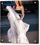 Pretty Woman With Gun Behind The Veil Acrylic Print