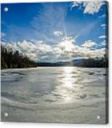 Price Lake Frozen Over During Winter Months In North Carolina Acrylic Print