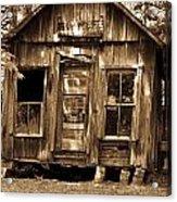 Primative Post Office Cabin In Sepia Acrylic Print