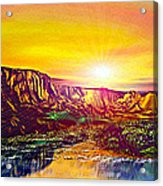 Rainbow Dawn Over Primeval Tide  Life Begins V3 Acrylic Print