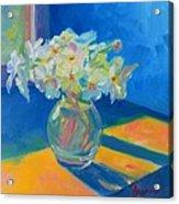 Primroses In Spring Light - Still Life Acrylic Print by Patricia Awapara