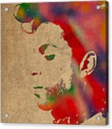 Prince Watercolor Portrait On Worn Distressed Canvas Acrylic Print