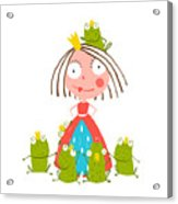 Princess And Many Prince Frogs Portrait Acrylic Print