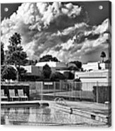 Pristine Pool Bw Marrakesh Palm Springs Acrylic Print