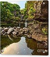 Private Pool Paradise - The Beautiful Scene Of The Seven Sacred Pools Of Maui. Acrylic Print