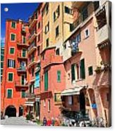 promenade and homes in Camogli Acrylic Print