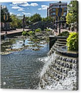 Promenade And Waterfall In Carroll Creek Park In Frederick Mary Acrylic Print