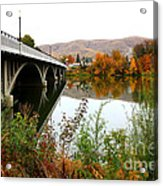 Prosser Bridge And Fall Colors On The River Acrylic Print
