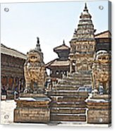 Protector Sculptures Near The Boundary Of Bhaktapur Durbar Square In Bhaktapur-nepal Acrylic Print
