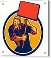 Protester Activist Union Worker Placard Sign Retro Acrylic Print