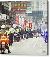 Protesters March Against Hong Kong Leader Acrylic Print