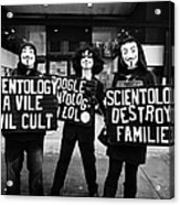 protesters outside a church of scientology Vancouver BC Canada Acrylic Print by Joe Fox