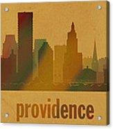 Providence Rhode Island City Skyline Watercolor On Parchment Acrylic Print
