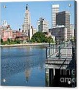 Providence Skyline And Riverfront Acrylic Print