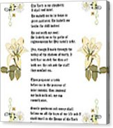 Psalm 23 From The Holy Bible Acrylic Print by Anne Norskog