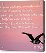 Psalm With Pelican And Pink Sky Acrylic Print