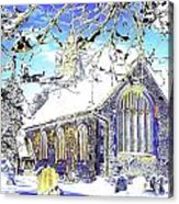 Psychedelic English Village Church In Winter Acrylic Print