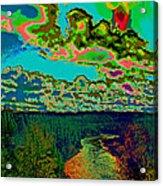 Psychedelic Skyline Over Spokane River #1 Acrylic Print