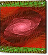Psychedelic Spiral Vortex Green And Red Fractal Flame Acrylic Print by Keith Webber Jr